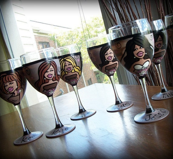 BDAY SALE Bridesmaids (6 glasses) Custom Hand Painted Wedding Glassware