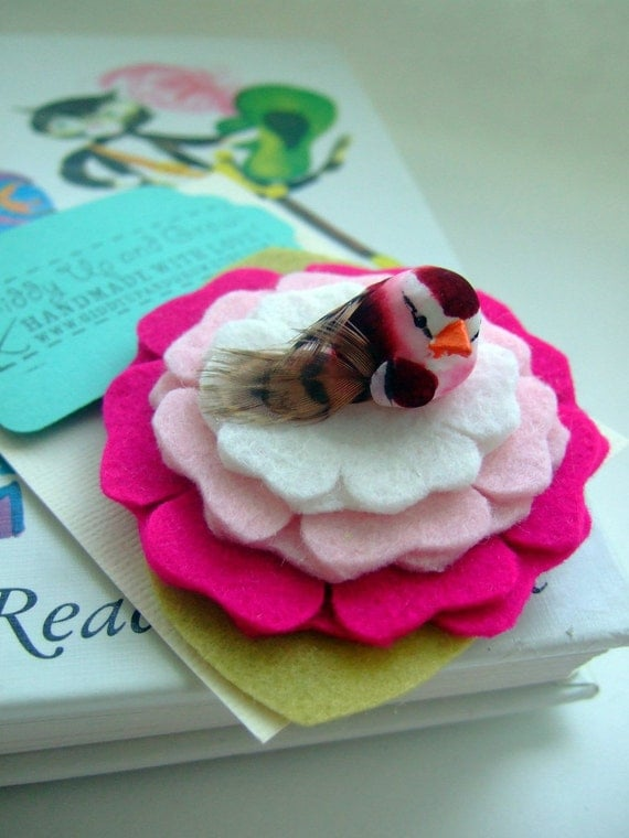 Love Bird Wool Felt Flower Headband with Pink Mushroom Bird