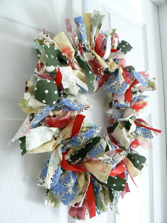 Christmas Rag Wreath made with scraps of fabric