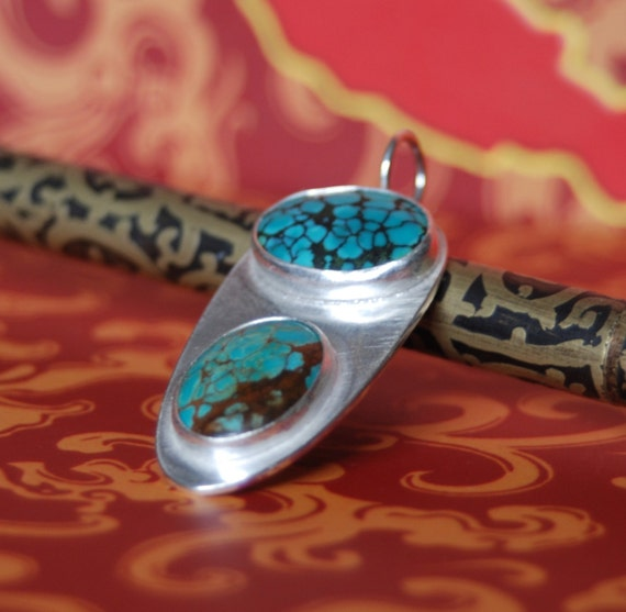 Two Turquoise Stones of Love Silver Pendant