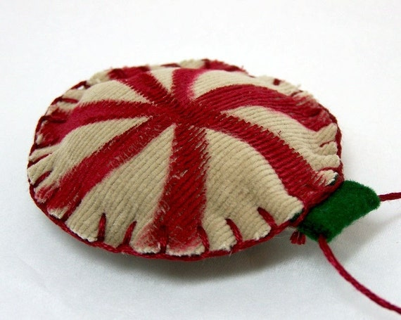 Handmade Primitive Peppermint Christmas Tree Ornament -Upcycled Goodnes For Your Tree -Christmas -Holidays