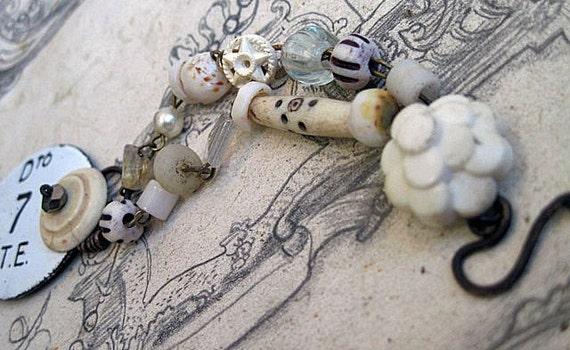 Terrifying Angels. White Assemblage Bracelet.