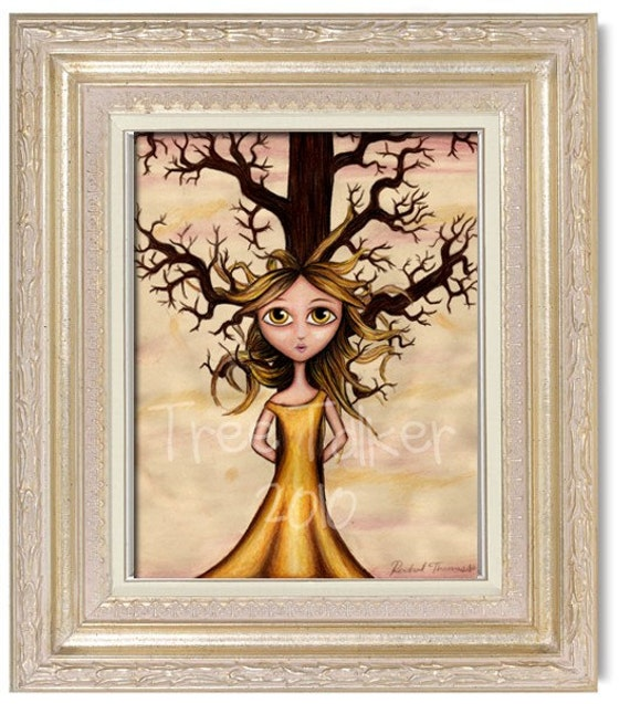 Tangled 8x10 Print tree, girl mixed media painting, branches