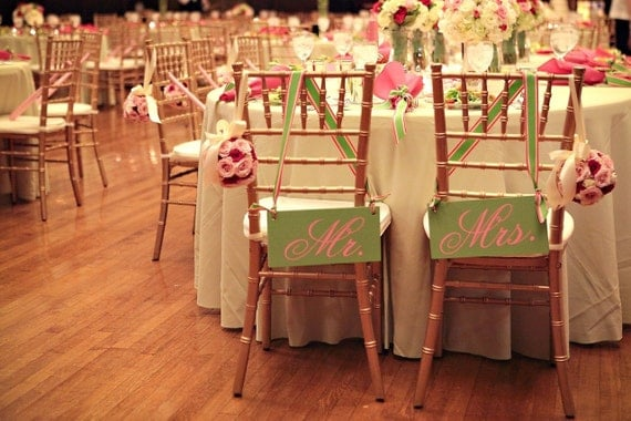 Wedding Chair signs MR. and MRS. or  BRIDE AND GROOM  ...6 in.  X 12 inches.. Can be done with JUST MARRIED or THANK YOU and in your wedding colors.