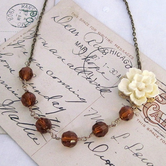Necklace. Jewelry, Flower, Sakura, Vintage Style, Cream, Ivory, Amber, Glass Beads. Decade. Vintage inspired jewelry by Lauren Blythe Designs Jewelry on Etsy.