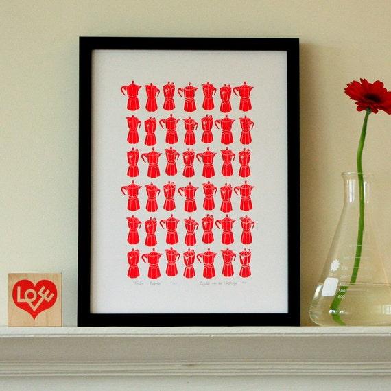 Mini Moka silkscreen print - red- edition of 50