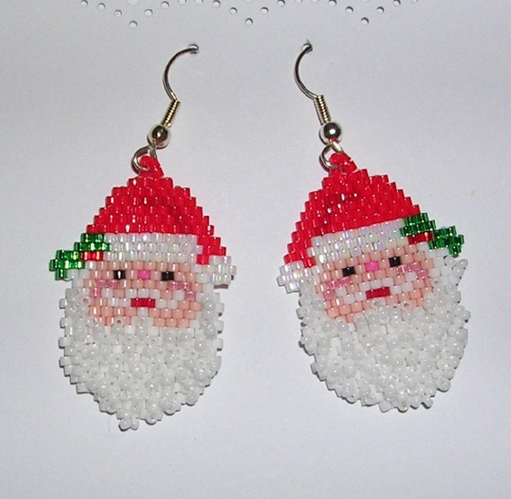 Santa Earrings - Fluffy Beard