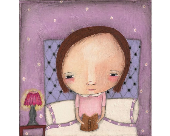 Reading in bed is my favourite thing to do - Mixed media whimsical original painting