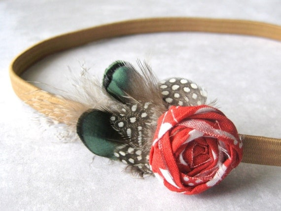 harvest rose headband with feathers