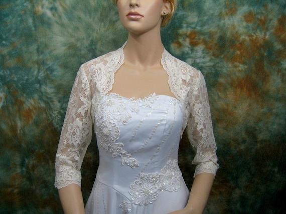Ivory 3/4 sleeve bridal lace wedding bolero jacket