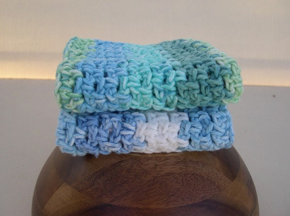 Neptune and Denim Crochet Dishcloths or Washcloths