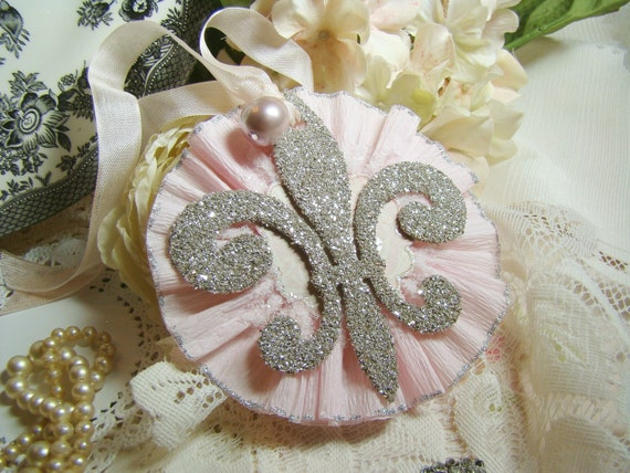 Chic Pink Rosette with Silver Glass Glitter Fleur de lis