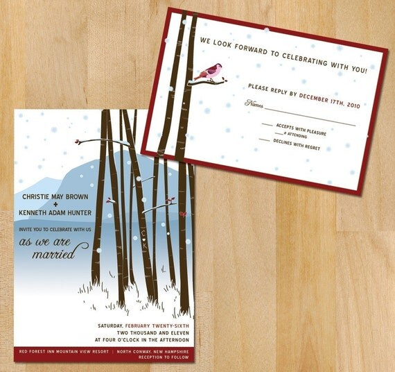 SAMPLE Winter Forest Wedding Invitation