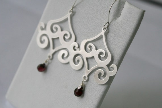 Out of the Orient - Garnet and White Gold Earrings