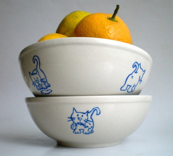Cream Cobalt  Kitty Cats Bowl Set of 2, Hand painted Unique Gift for Petlovers (made to order)