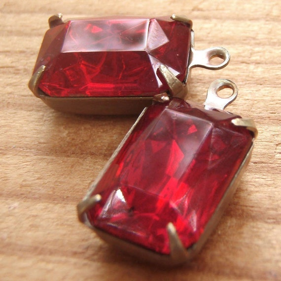 Ruby Vintage Glass Octagon Jewels