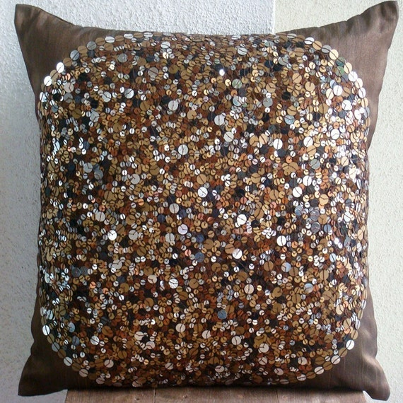 Brown Eye Sparkle -Throw Pillow Covers - 16x16 Inches Silk Pillow Cover Embellished with Sequins