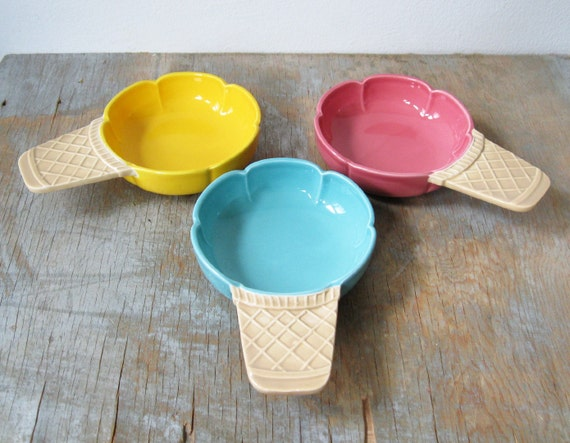 vintage Rosenthal Netter ice cream cone dishes pink, yellow, blue