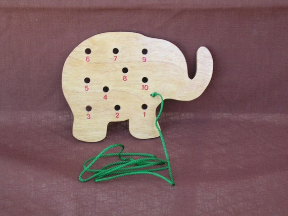 Educational Wood Lacing Card-Elephant
