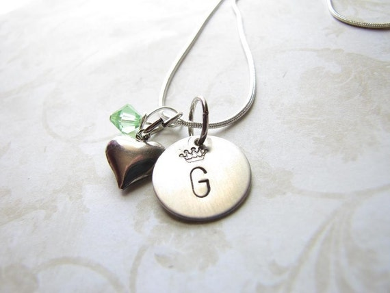 Initially the Queen Handstamped Necklace