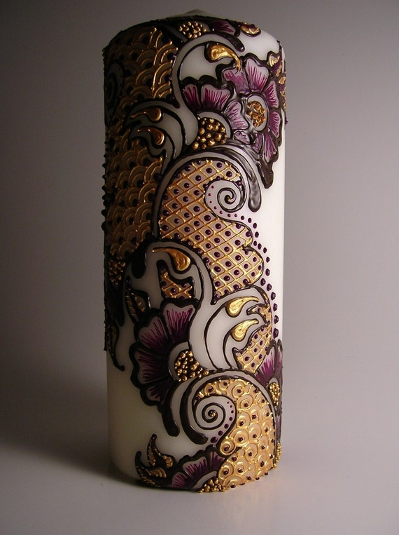 Buttery Gold and Violet Pillar Candle with Henna Inspired Design