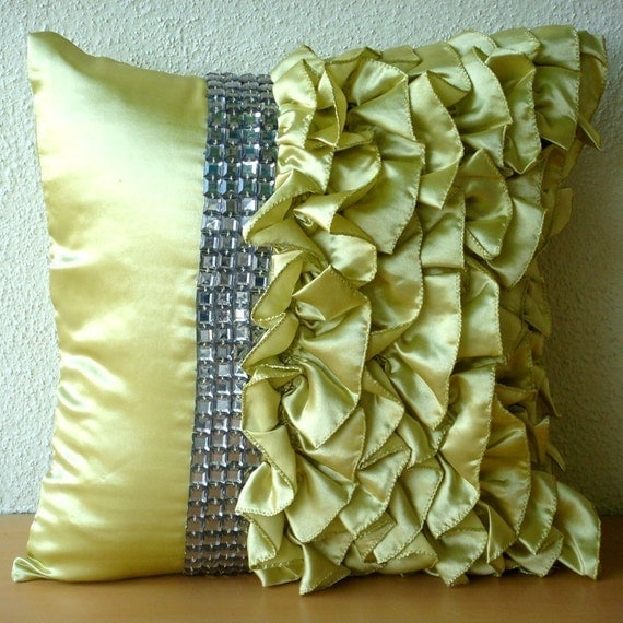 Diamonds N Ruffles - Throw Pillow Covers - 16x16 Inches Satin Pillow cover with Ruffles and Crystals