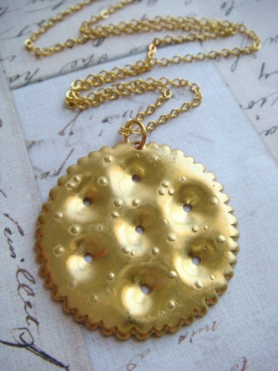 RITZ CRACKER - Brass Charm with a dainty 16 inch Gold Plated Chain Necklace