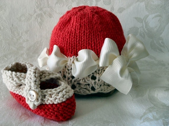 VALENTINE'S DAY Hand Knitted Cotton Cloche in Red and Ivory Lace with Grosgrain Ribbon and Matching Cross-strapped Booties