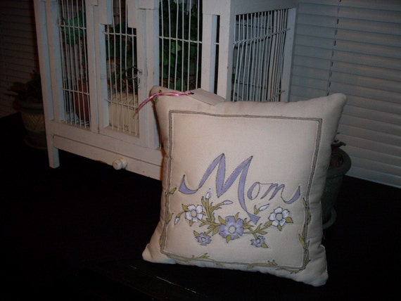Hand Painted Mom Pillow 11 x 11 Gentle Shades Of Lavender