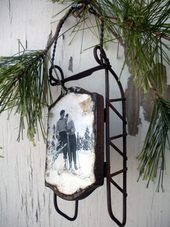 Love on the Ski Slopes - Vintage Style Sled Ornament