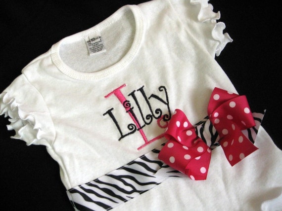Monogrammed Kids Shirt - Pink and Zebra Print