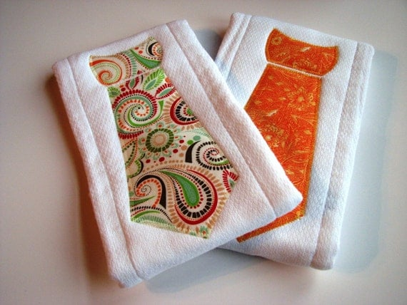 Neck Tie Burp Cloth Set of 2 in Orange and Red Paisley