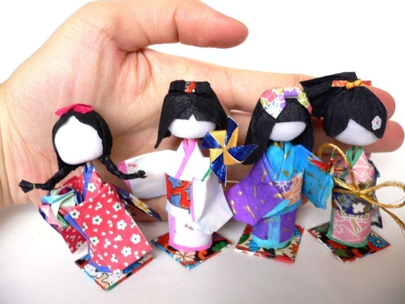 Basic 3D Washi Ningyo E-book Japanese Kimono Pattern Geisha Paper Dolls DIY Origami Kokeshi English Instructions etsymalaysia ebook how to