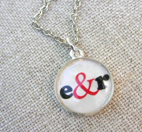Initials with Ampersand Round Resin Necklace