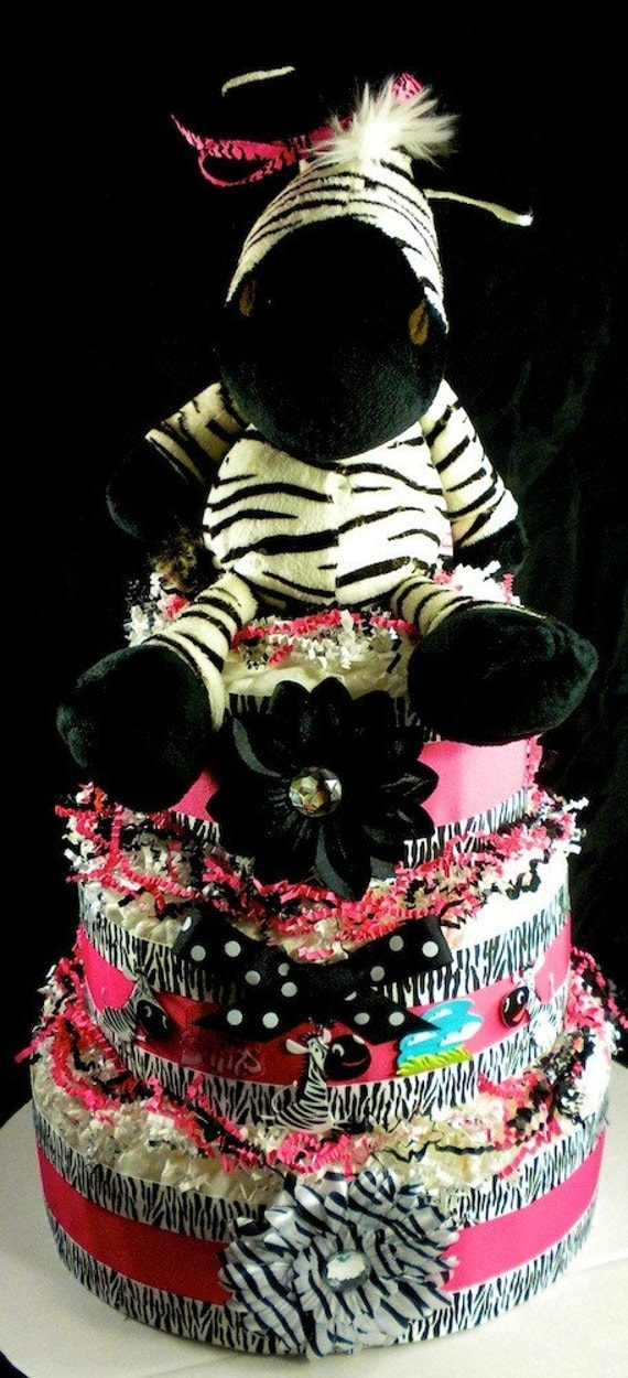 pink and white zebra cake. 3 tier Girl Zebra Diaper Cake