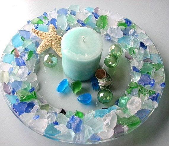Пляж Декор моря блюдо стекла или пластины, Aqua, Green, Blue - 13, в