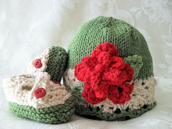 HAND KNITTED COTTON Victorian Cloche and Matching Cross-strapped Booties