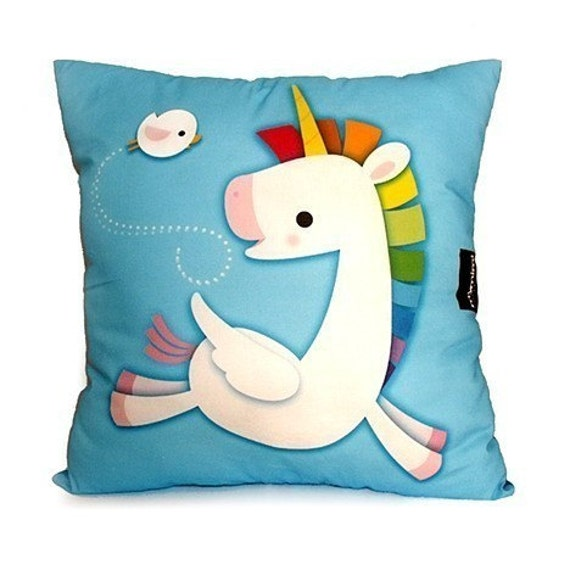 Deluxe Pillow - Rainbow Unicorn (Blue)