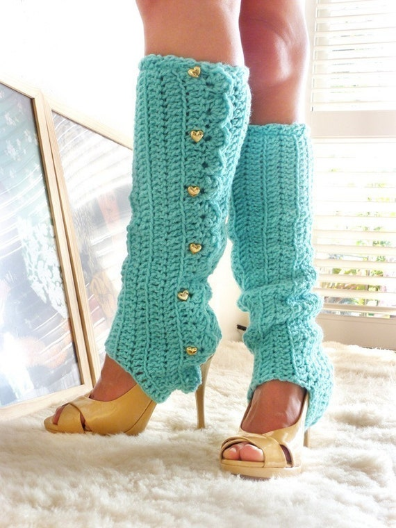 Crochet Leg Warmers with Stirrups by Mademoiselle Mermaid