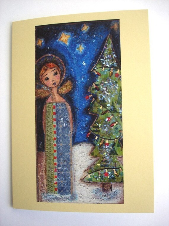 LET IT SNOW -  ANGEL GIRL - CHRISTMAS CARDS - Pack of 4 - Folk Art By FLOR LARIOS