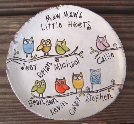 Personalized Little Hoots Dish - Made to order- Mom - Nana - Dad - Grandpa - Choose the personalization