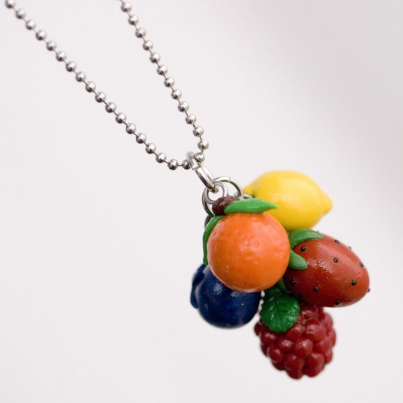 Roscata Rainbow Fruit Cocktail Necklace - Handmade Polymer Clay MIniature Food Jewelry