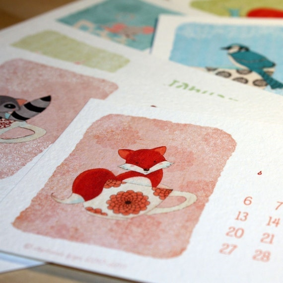 Little Forest 2011 Desk Calendar with case ONLY 10 LEFT