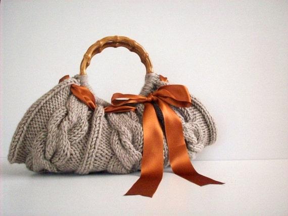 Knitted کیف دستی -- بژ بگ - Nr 0،110