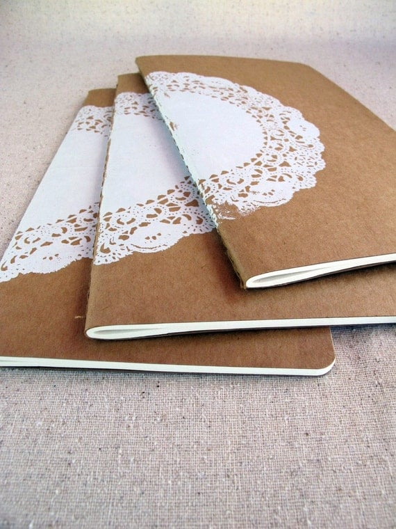white lace doily -- screenprinted moleskine journal