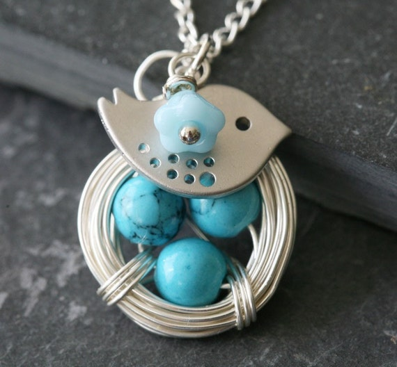 Original Signature Design,Lovely Bird and blue turquoise sterling silver chain Nest Necklace