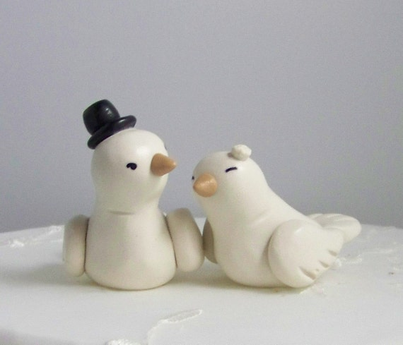 Hand Sculpted Cake Topper High Fashion Nuzzling Love Birds Small Color of Choice