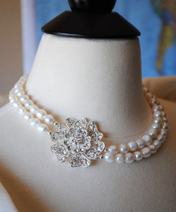 Brooch Bridal Necklace, Flower Brooch, White Freshwater Pearl Nuggets, 2 Strand, Lillian Necklace N260B10