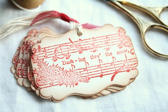 Christmas Gift Tags Vintage Sheet Music, Dashing Through The Snow