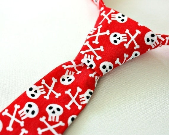 Skull Crossbones Little Boy Toddler Baby Necktie RED